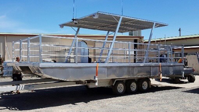 Custom made aluminium pontoon boat in Australia